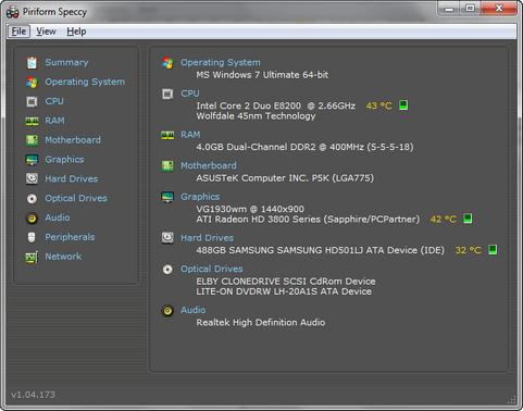 Speccy 1.04 build 173 screenshot (481 pix)