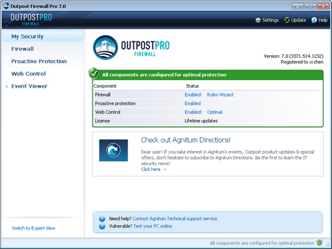 Outpost Firewall Pro 7 screenshot