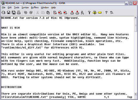 Vim 7.3 screenshot (481 pix)