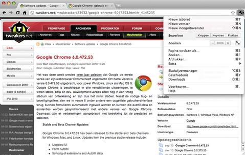 Google Chrome 6.0 screenshot