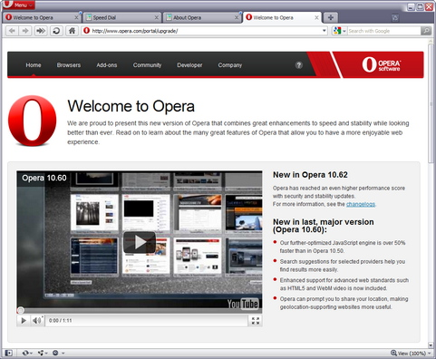 Opera 10.62 screenshot (481 pix)
