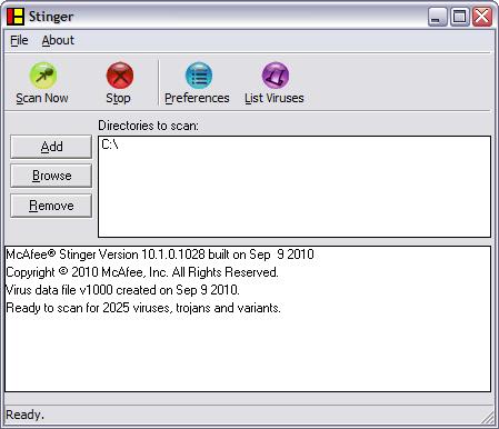 McAfee Stinger 10.1.0.1028 screenshot