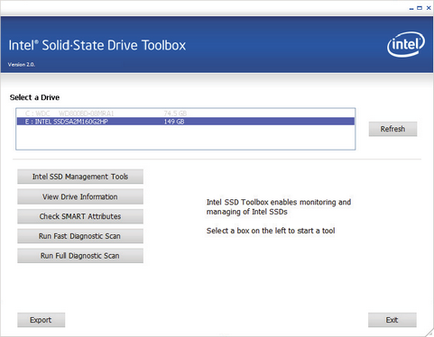 Intel SSD Toolbox 2.0 screenshot (481 pix)