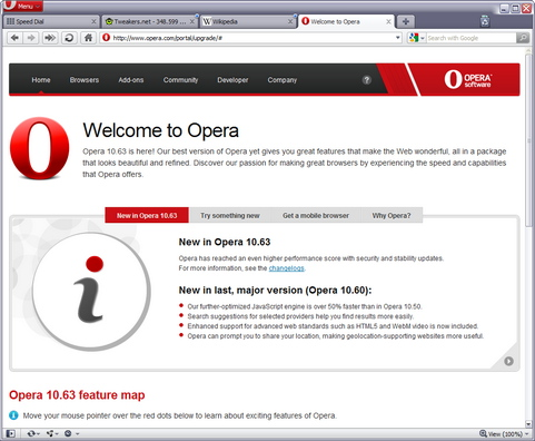 Opera 10.63 build 3516 screenshot