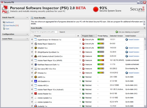 Personal Software Inspector screenshot (481 pix)
