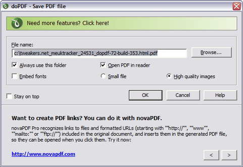 doPDF 7.2 build 353 screenshot (481 pix)