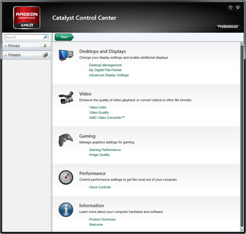 AMD Catalyst Control Center screenshot (481 pix)