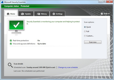 Microsoft Security Essentials screenshot (481 pix)