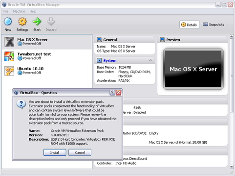 VirtualBox 4.0.0 screenshot