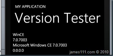 Version Tester in emulator Windows Phone 7