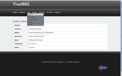 FreeNAS 0.8 screenshot