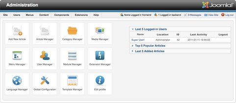 Joomla! 1.6 backend screenshot
