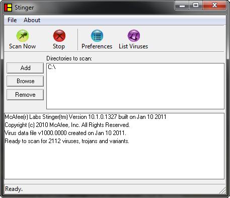 McAfee Stinger 10.1.0.1327