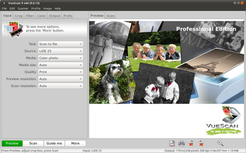 VueScan 9.0.13 screenshot (481 pix)