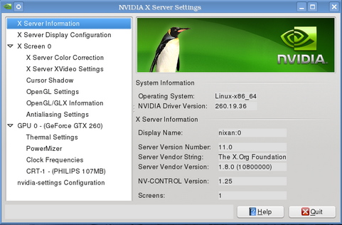 Nvidia Linux Display Driver 260.19.36 screenshot (481 pix)