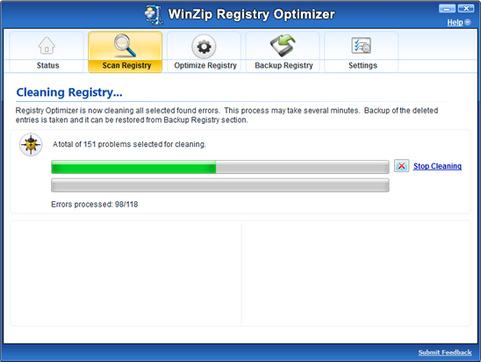 WinZip Registry Optimizer screenshot (481 pix)