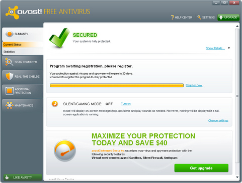 Avast Antivirus 6.0 screenshot