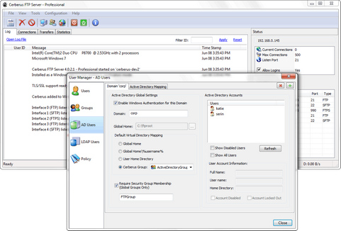 Cerberus FTP Server 4.0 screenshot (481 pix)