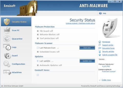 Emsisoft Anti-Malware screenshot (481 pix)