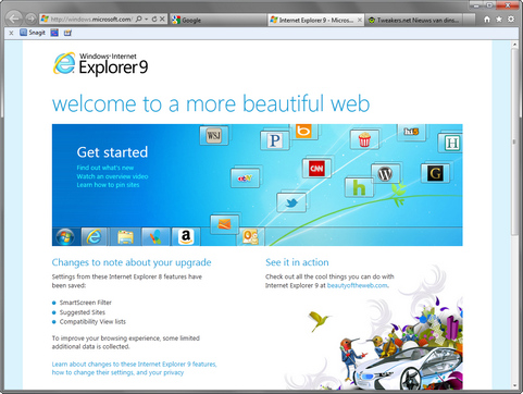Microsoft Internet Explorer 9 screenshot
