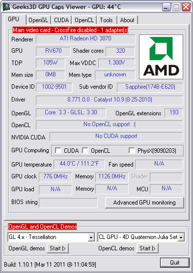 GPU Caps Viewer 1.10.1 screenshot (481 pix)