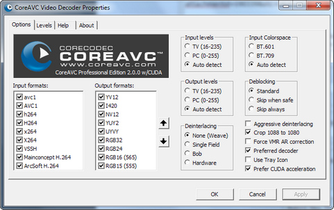 CoreAVC 2.0.0 screenshot (481 pix)