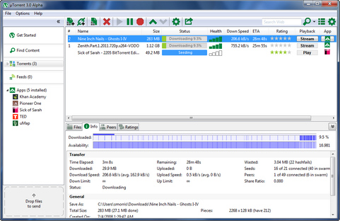µTorrent 3.0 alpha screenshot