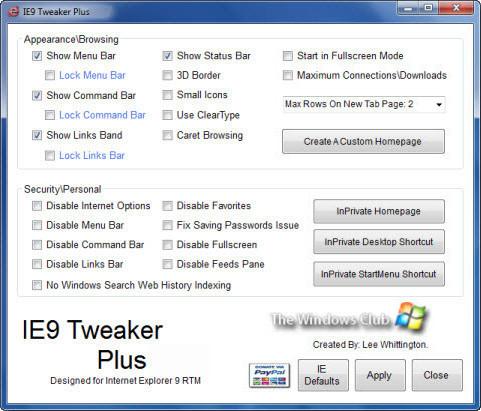 IE9 Tweaker Plus screenshot (481 pix)