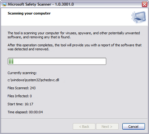 Microsoft Safety Scanner 1.0 screenshot