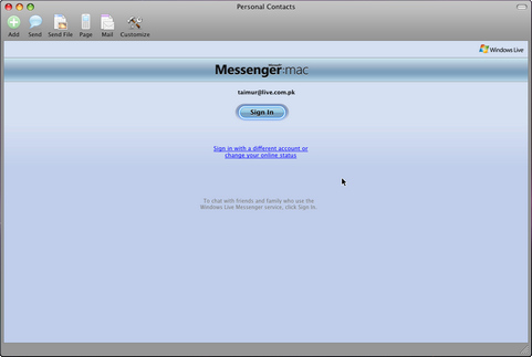 Microsoft Messenger for Mac screenshot (481 pix)