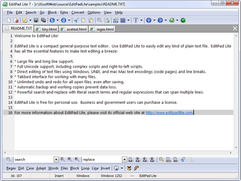 EditPad Lite 7.0.0 screenshot