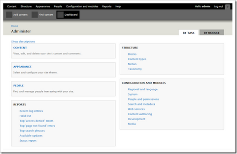 Drupal 7 dashboard screenshot (481 pix)