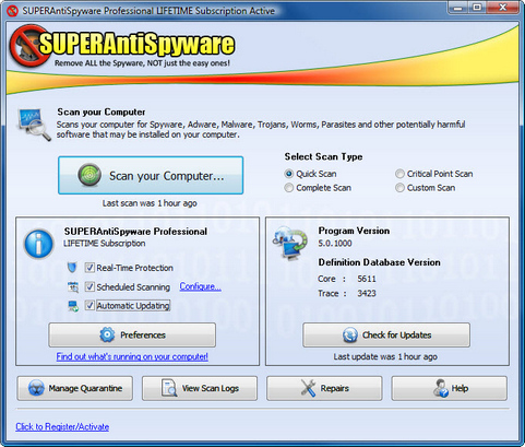 SuperAntiSpyware 5.0 screenshot (481 pix)
