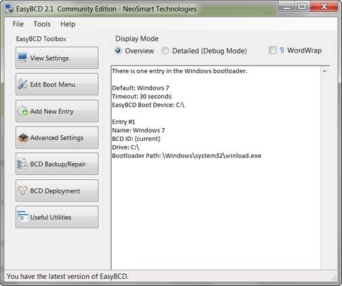 EasyBCD 2.1 screenshot (481 pix)