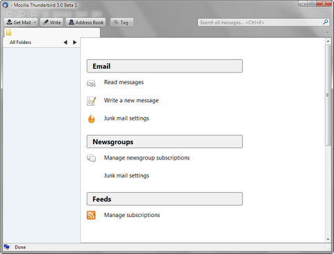 Mozilla Thunderbird 5.0 bèta 1 screenshot