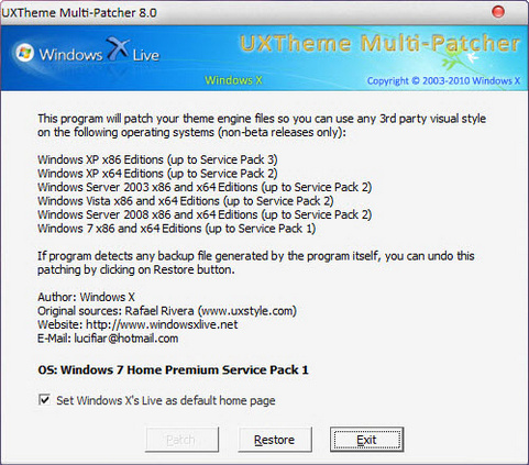 Uxtheme Multi-patcher 8.0 screenshot (481 pix)