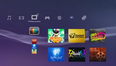 Televisiezenders in het XrossMediaBar-menu