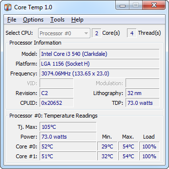 CoreTemp 1.0 screenshot