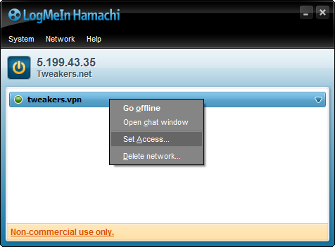 Hamachi 2.1.0.124 screenshot (481 pix)
