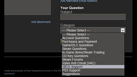 XBOX dropdown op support site