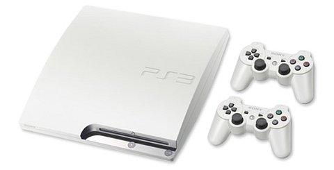 Witte PlayStation 3 Slim met twee controllers