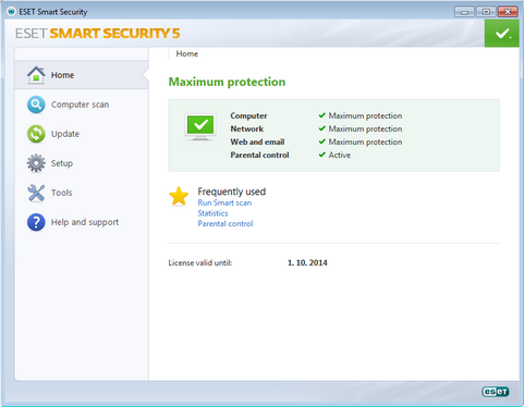NOD32 Smart Security 5.0 screenshot (481 pix)