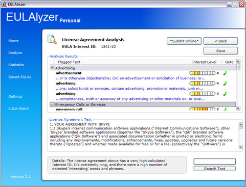 EULAlyzer 2.1 screenshot