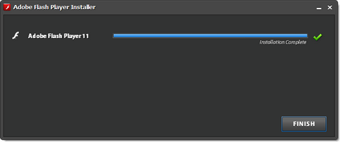 Adobe Flash Player 11 installatie screenshot (481 pix)