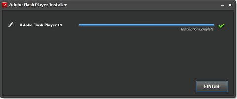 Adobe Flash Player 11 installatie screenshot (481 pix)