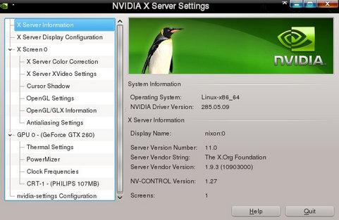 Nvidia Linux Display Driver 285.05.09 screenshot (481 pix)