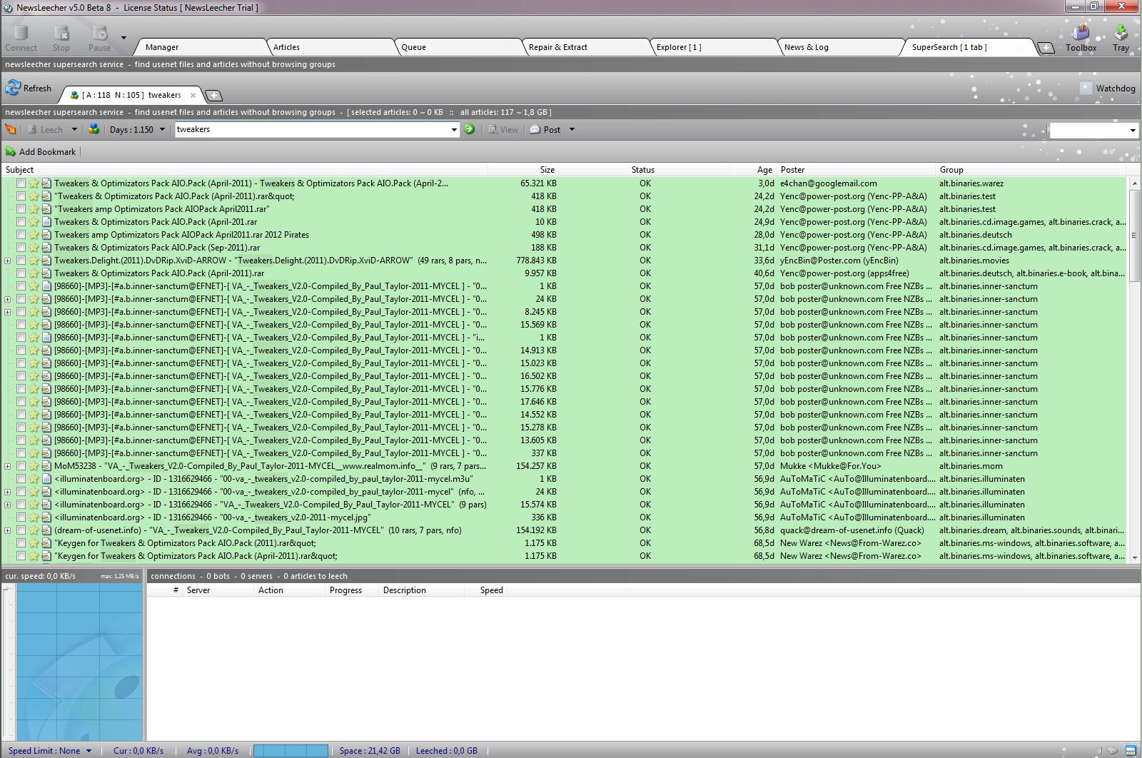 NewsLeecher 5.0 bèta 8 screenshot, klik op de afbeelding voor een ...