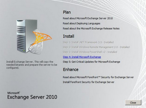 Microsoft Exchange Server 2010 screenshot (481 pix)