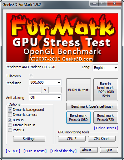 FurMark 1.9.2 screenshot
