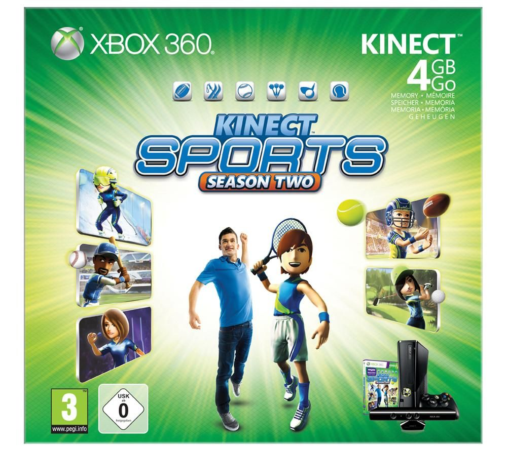 Microsoft Xbox 360 Slim 4GB + Kinect Sports Season 2 + Kinect ...